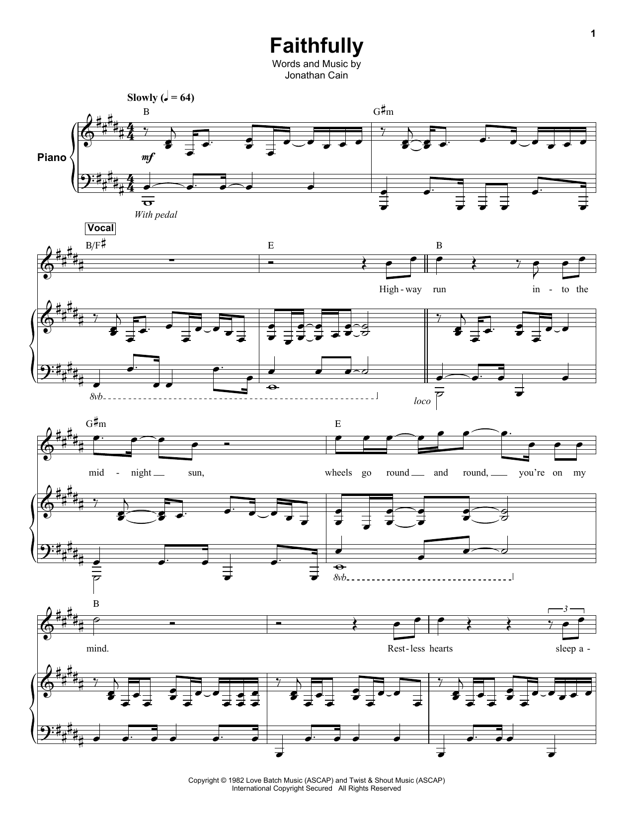 Faithfully Sheet Music Journey Keyboard Transcription