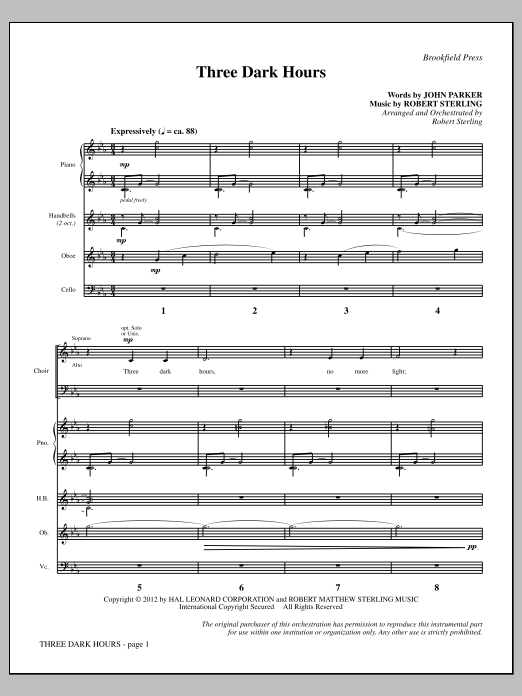 Three Dark Hours (COMPLETE) sheet music for orchestra/band by John Parker and Robert Sterling. Score Image Preview.