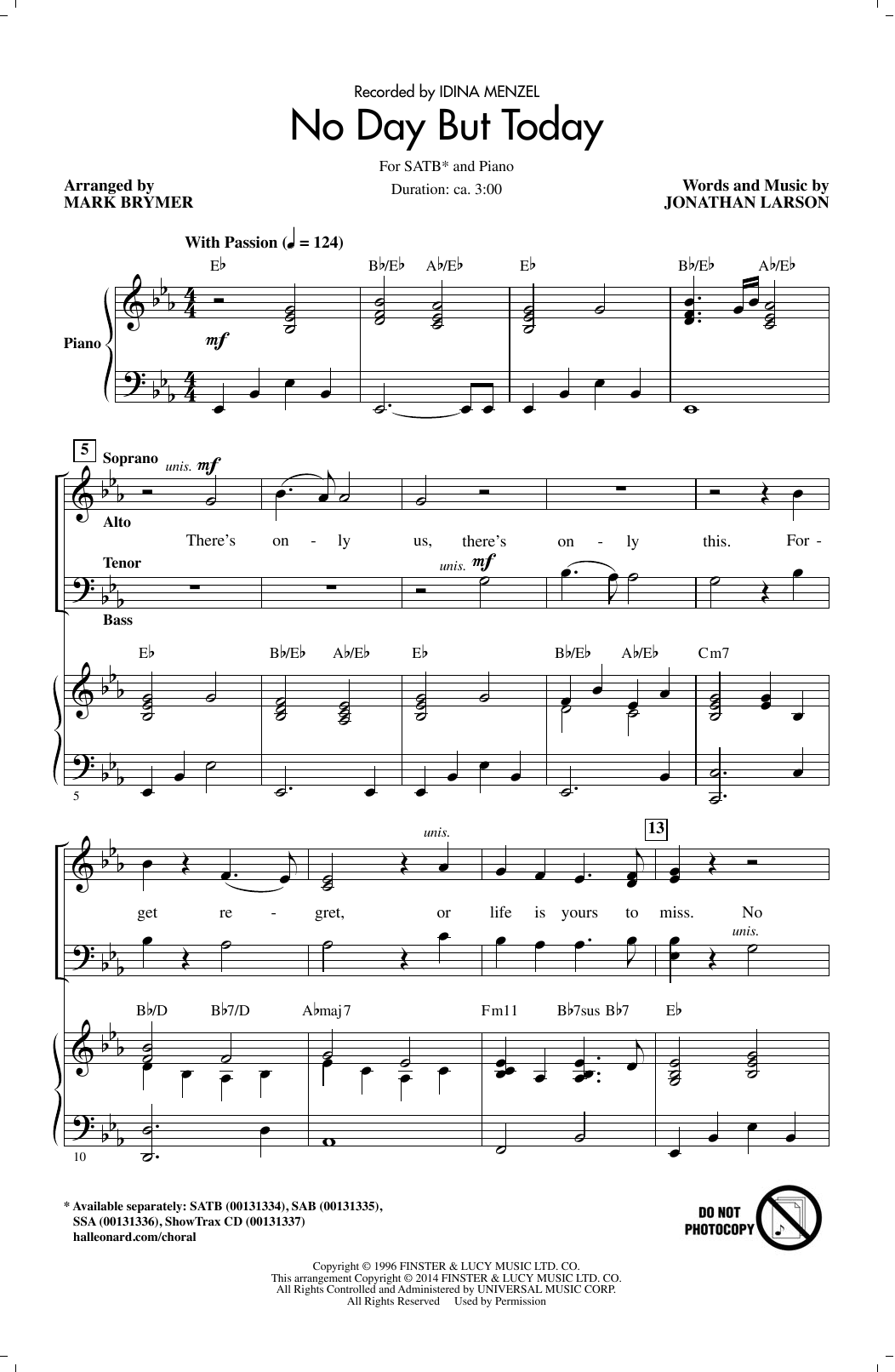 No Day But Today (SATB Choir)
