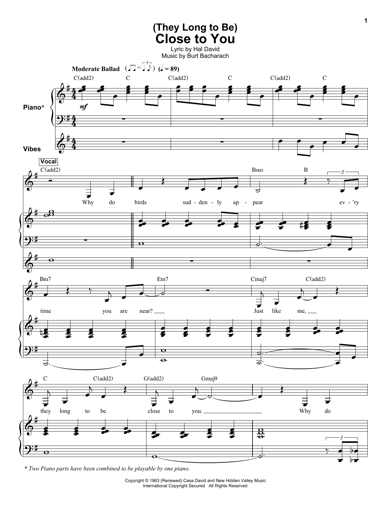 They Long To Be Close To You Sheet Music To Download