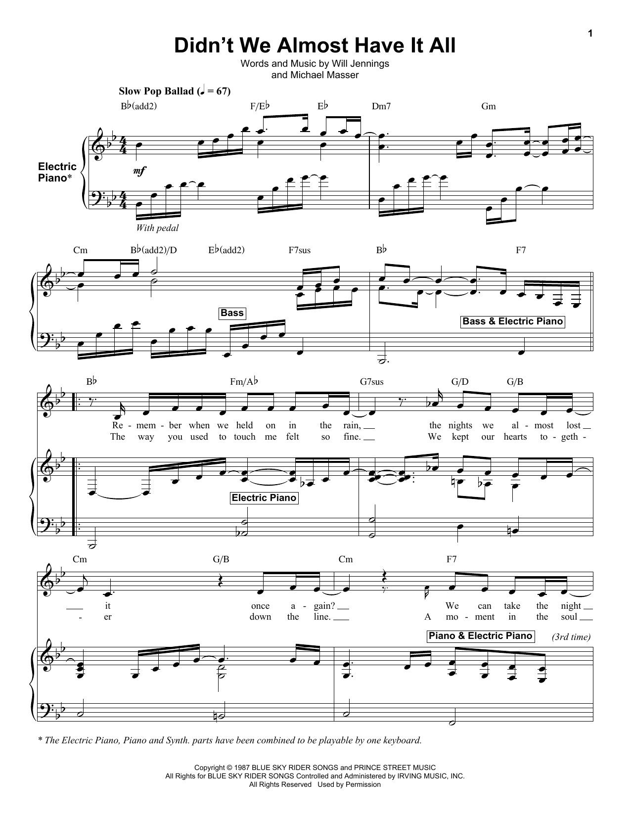 Didn't We Almost Have It All Sheet Music