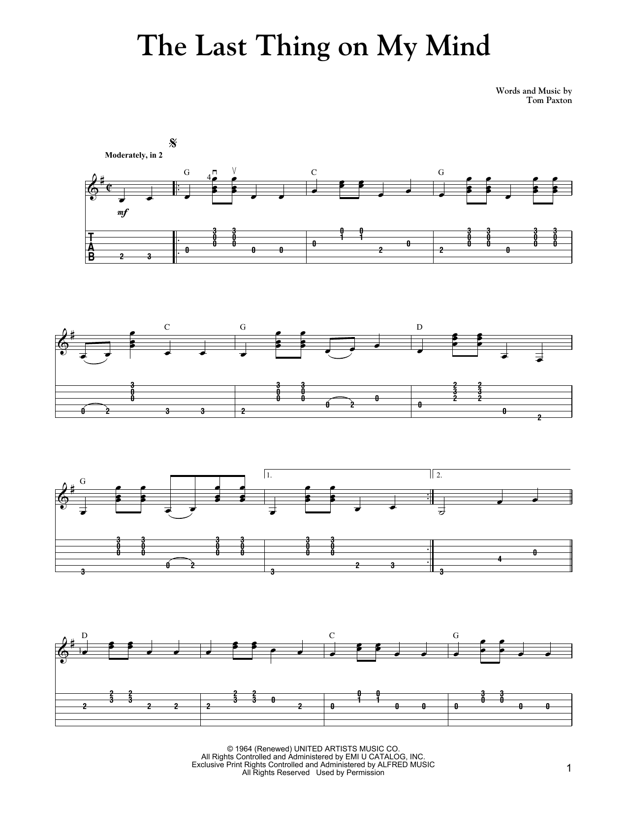 The Last Thing On My Mind Sheet Music
