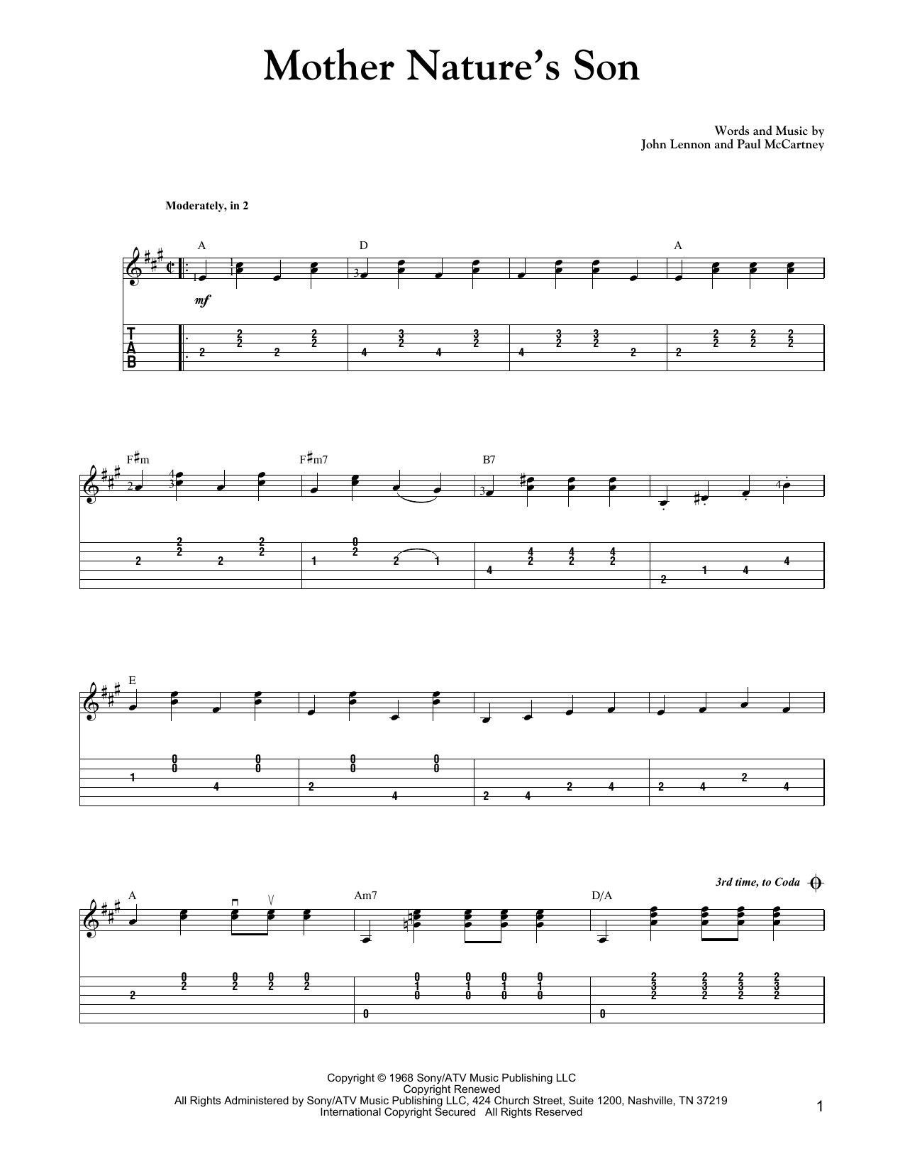 Mother Nature's Son (Carter Style Guitar) Sheet Music