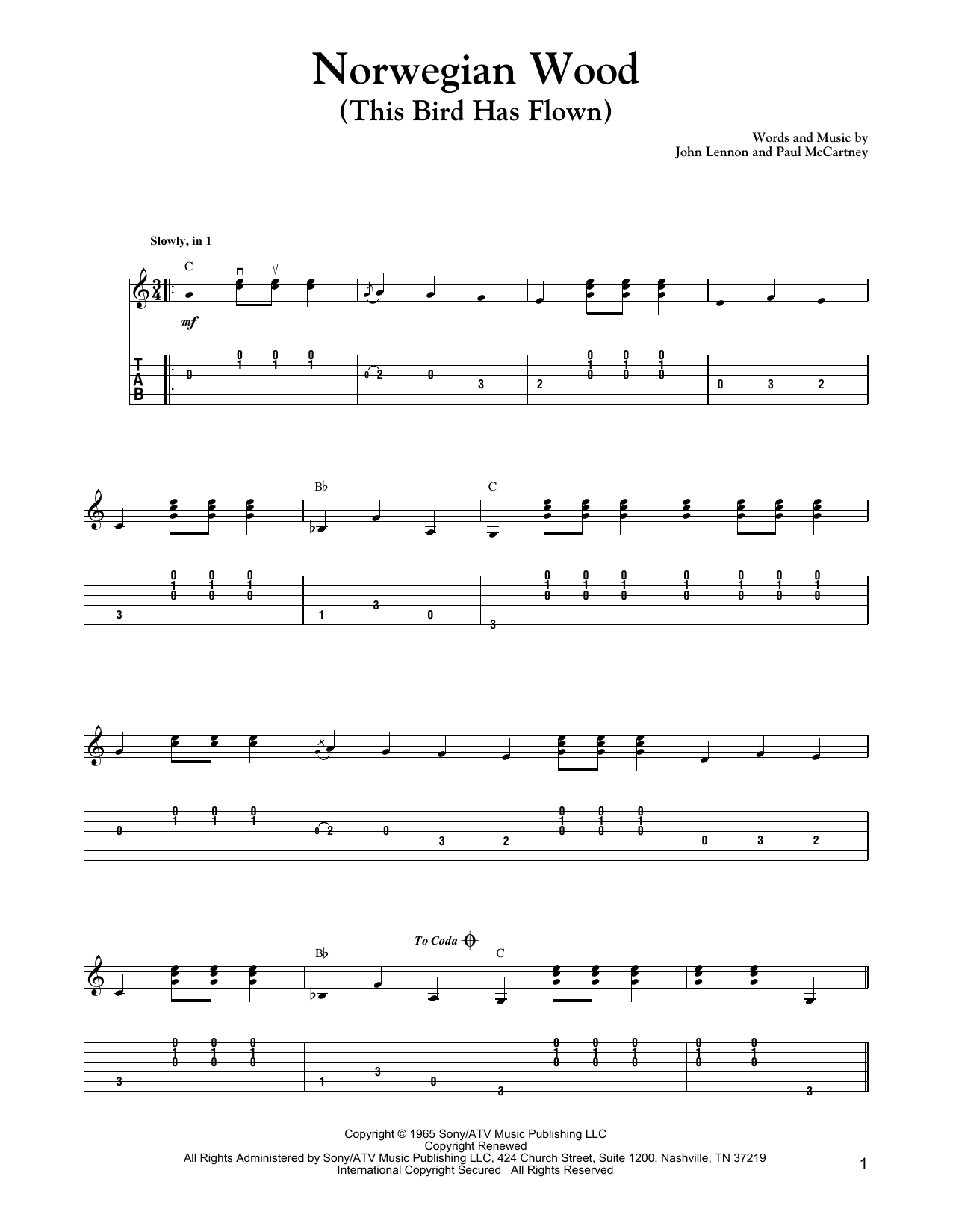 Tablature guitare Norwegian Wood (This Bird Has Flown) de The Beatles - Tablature Guitare