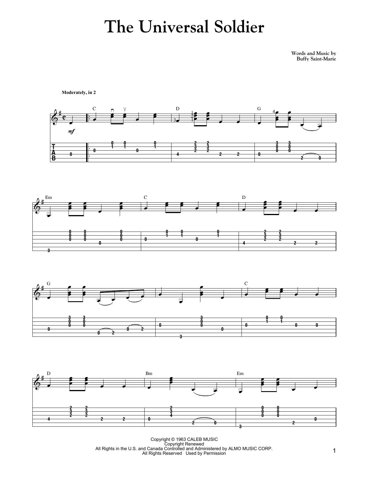 The Universal Soldier (Carter Style Guitar) Sheet Music