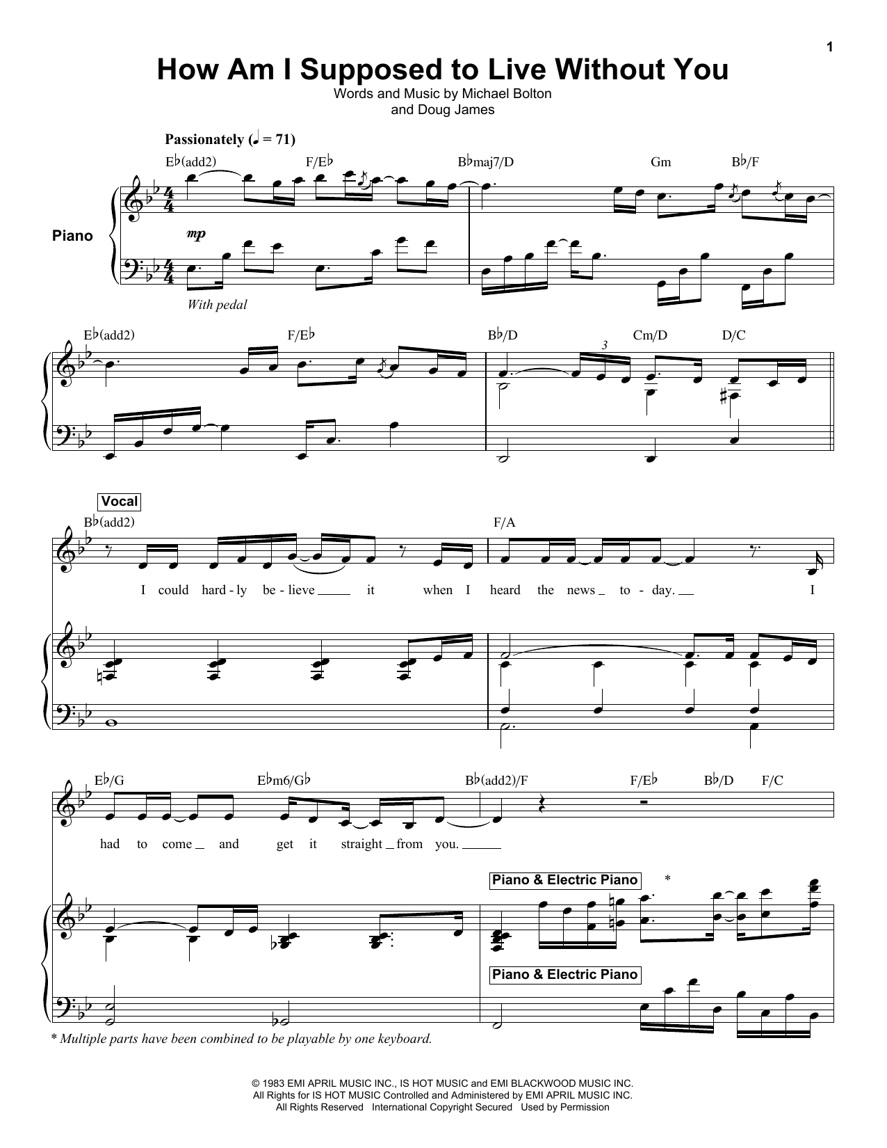 How Am I Supposed To Live Without You (Keyboard Transcription)