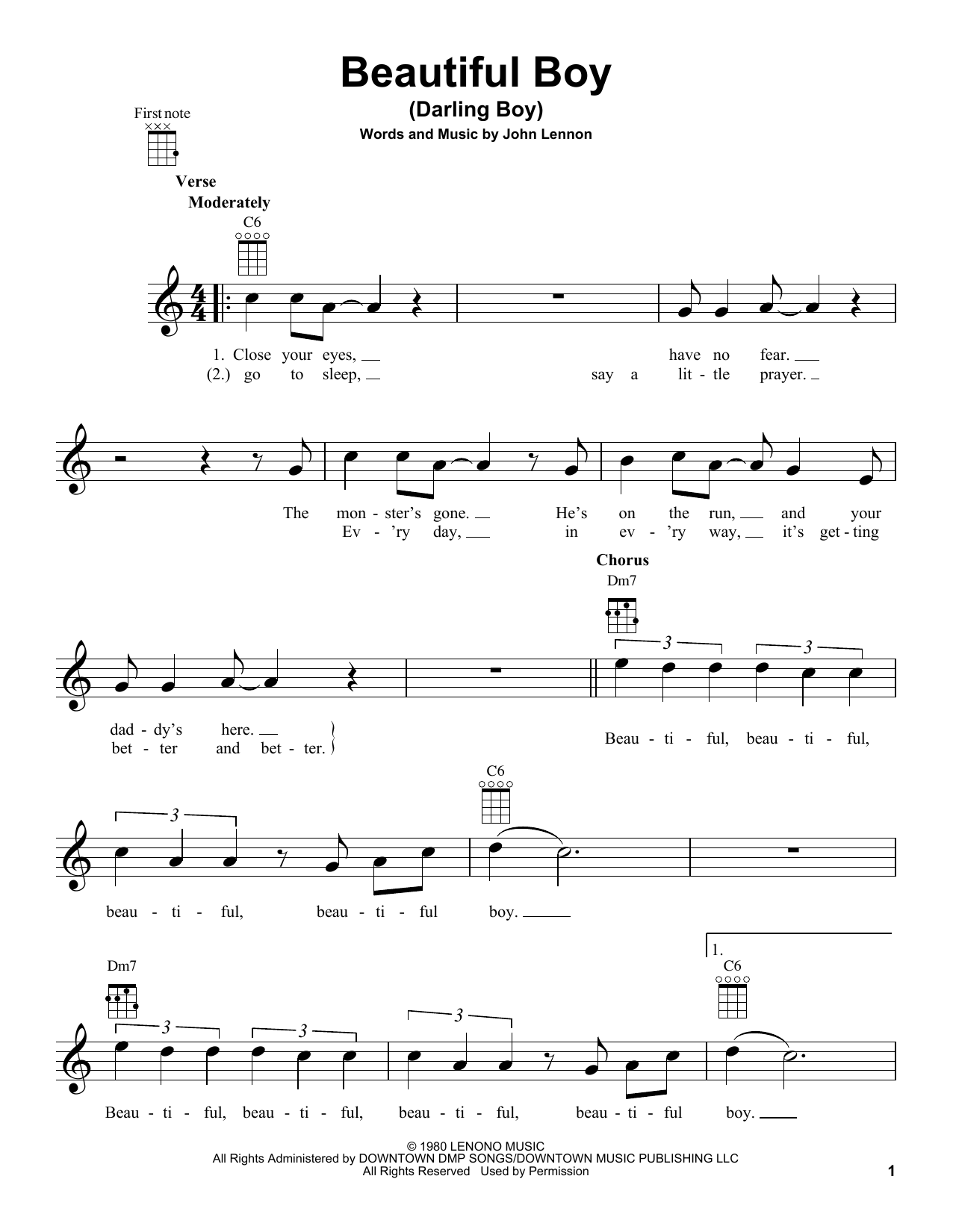 Tablature guitare Beautiful Boy (Darling Boy) de John Lennon - Ukulele