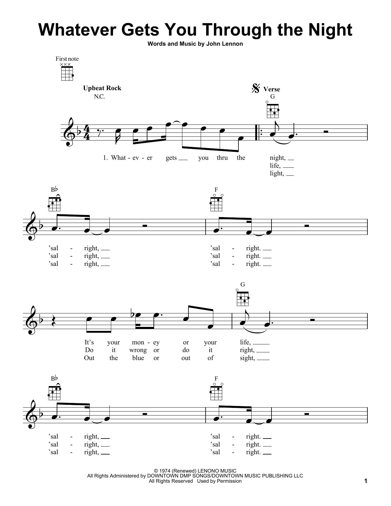 Tablature guitare Whatever Gets You Through The Night de John Lennon - Ukulele