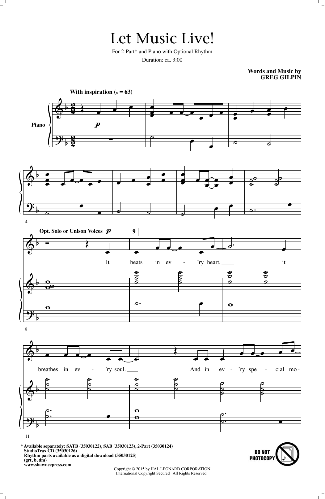 Let Music Live Sheet Music