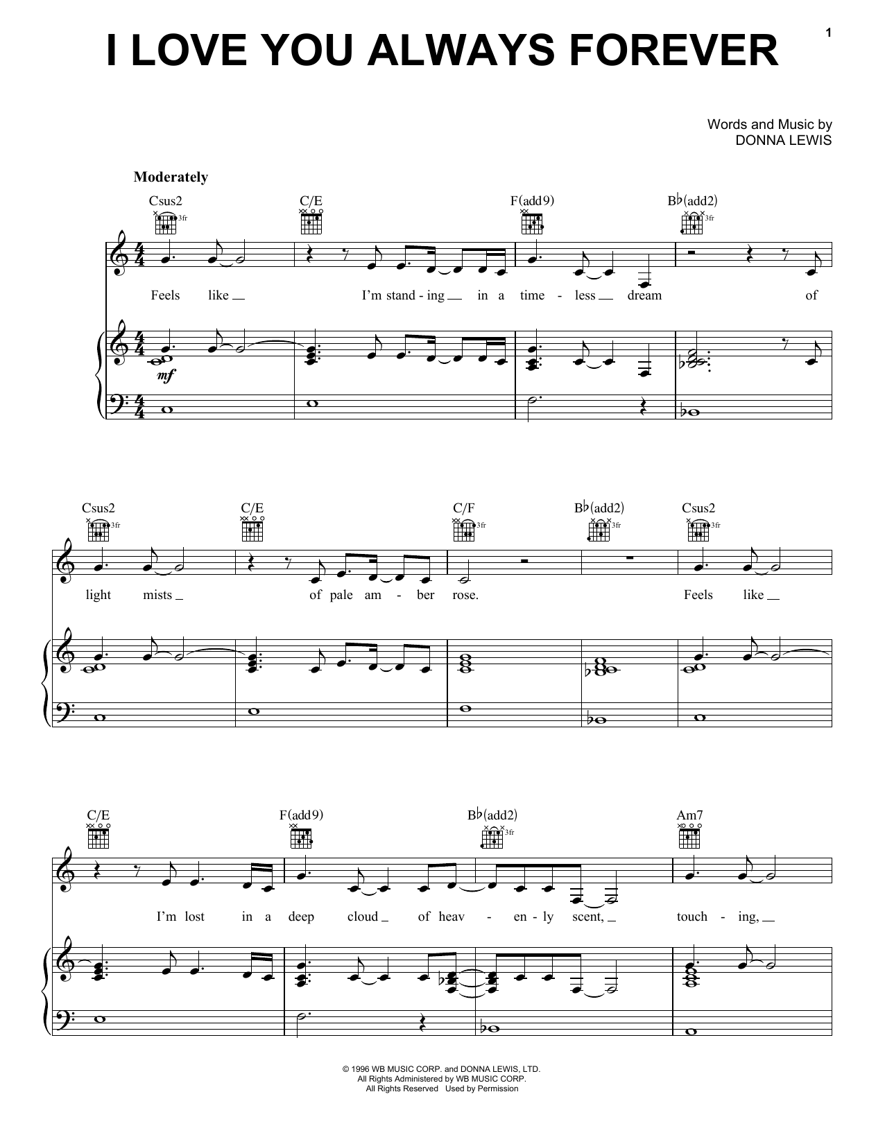 I Love You Always Forever (Piano, Vocal & Guitar (Right-Hand Melody))