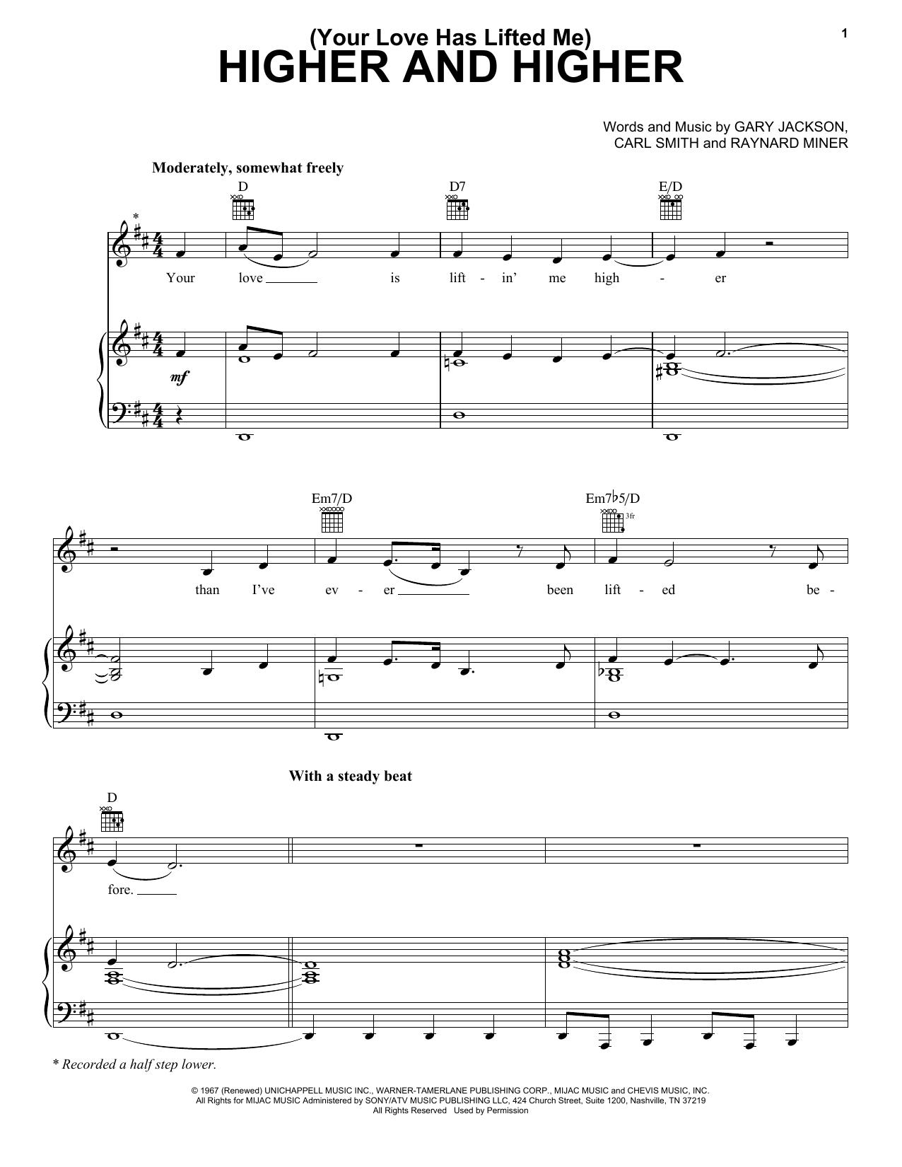 (Your Love Has Lifted Me) Higher And Higher Sheet Music