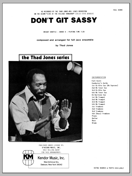 Don't Git Sassy (COMPLETE) sheet music for jazz band by Thad Jones. Score Image Preview.