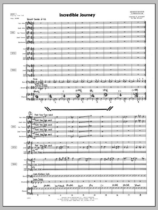 Incredible Journey (COMPLETE) sheet music for jazz band by Bob Mintzer. Score Image Preview.