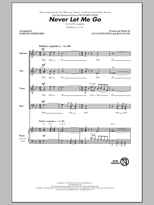 Partition chorale Never Let Me Go (arr. Paris Rutherford) de Dinah Washington - SATB