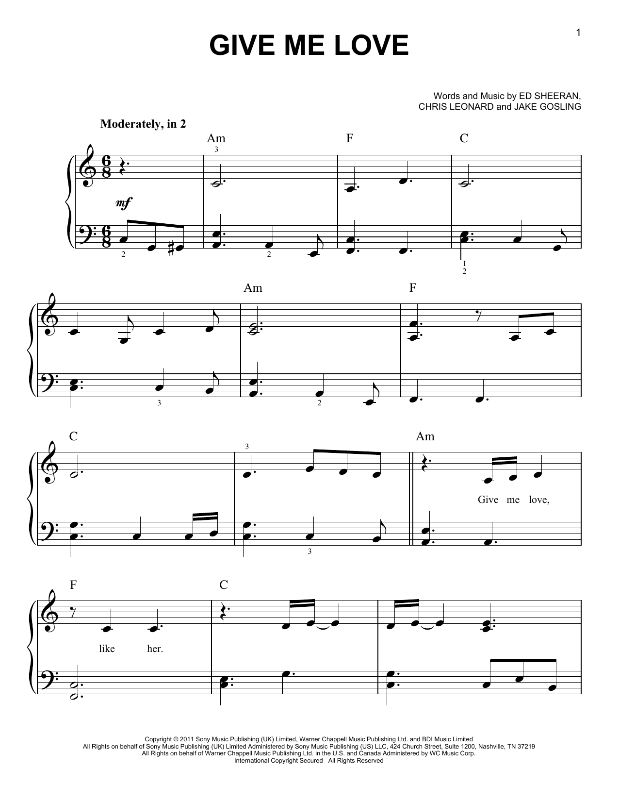 Partition piano Give Me Love de Ed Sheeran - Piano Facile