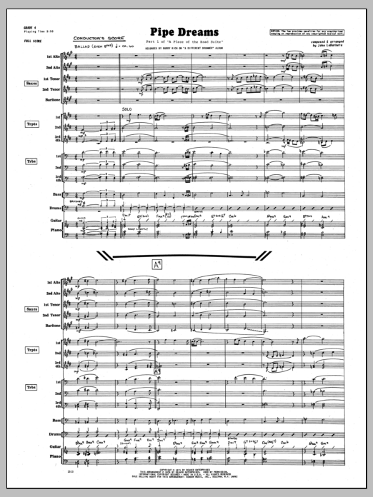 Pipe Dreams (COMPLETE) sheet music for jazz band by John LaBarbara. Score Image Preview.