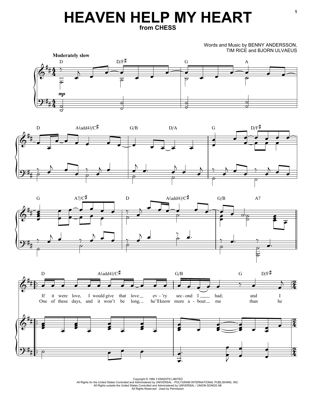 Heaven Help My Heart (from Chess) (Piano & Vocal)