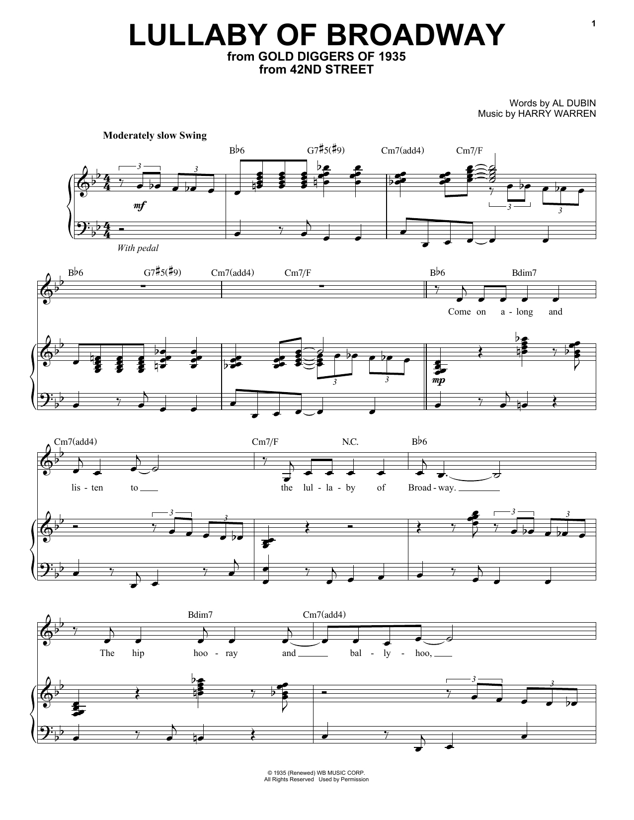 Lullaby Of Broadway Sheet Music