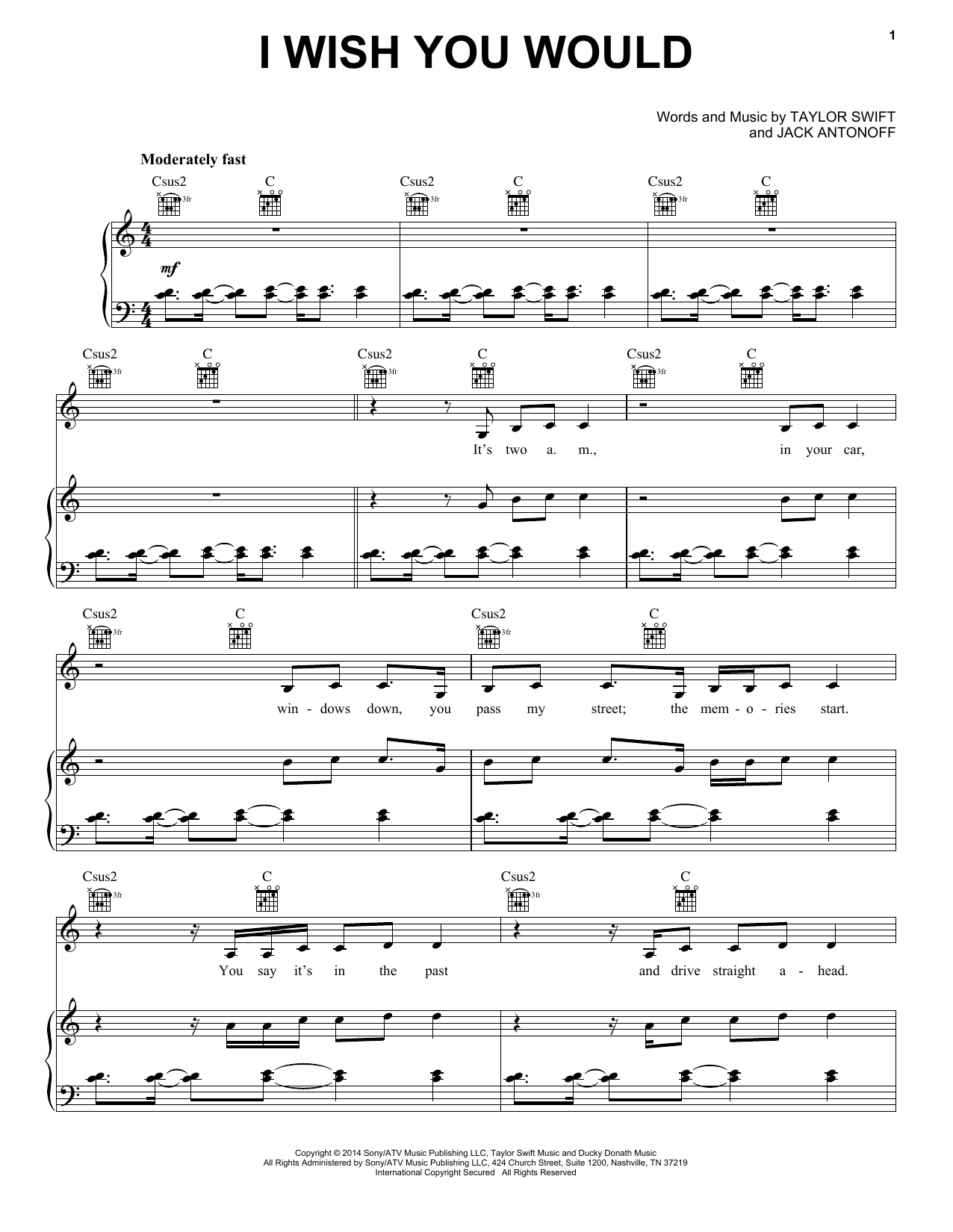 I Wish You Would Sheet Music