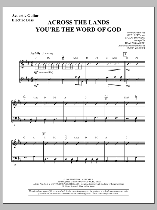 across the lands you 39 re the word of god acoustic guitar electric bass sheet music direct. Black Bedroom Furniture Sets. Home Design Ideas
