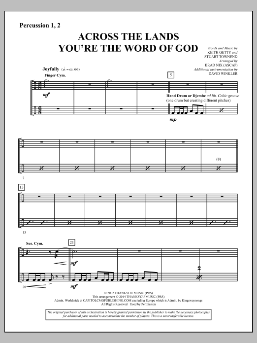 Across the Lands You're the Word of God - Percussion 1 & 2 Sheet Music