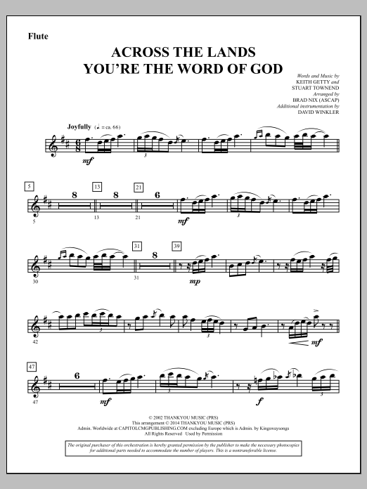 Across the Lands You're the Word of God - Flute Sheet Music