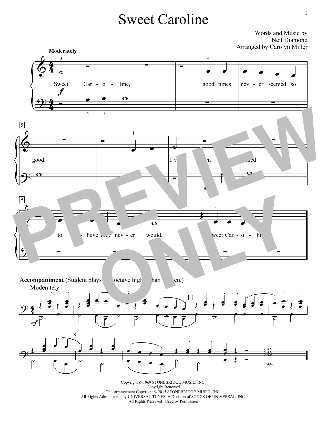Sweet Caroline Sheet Music