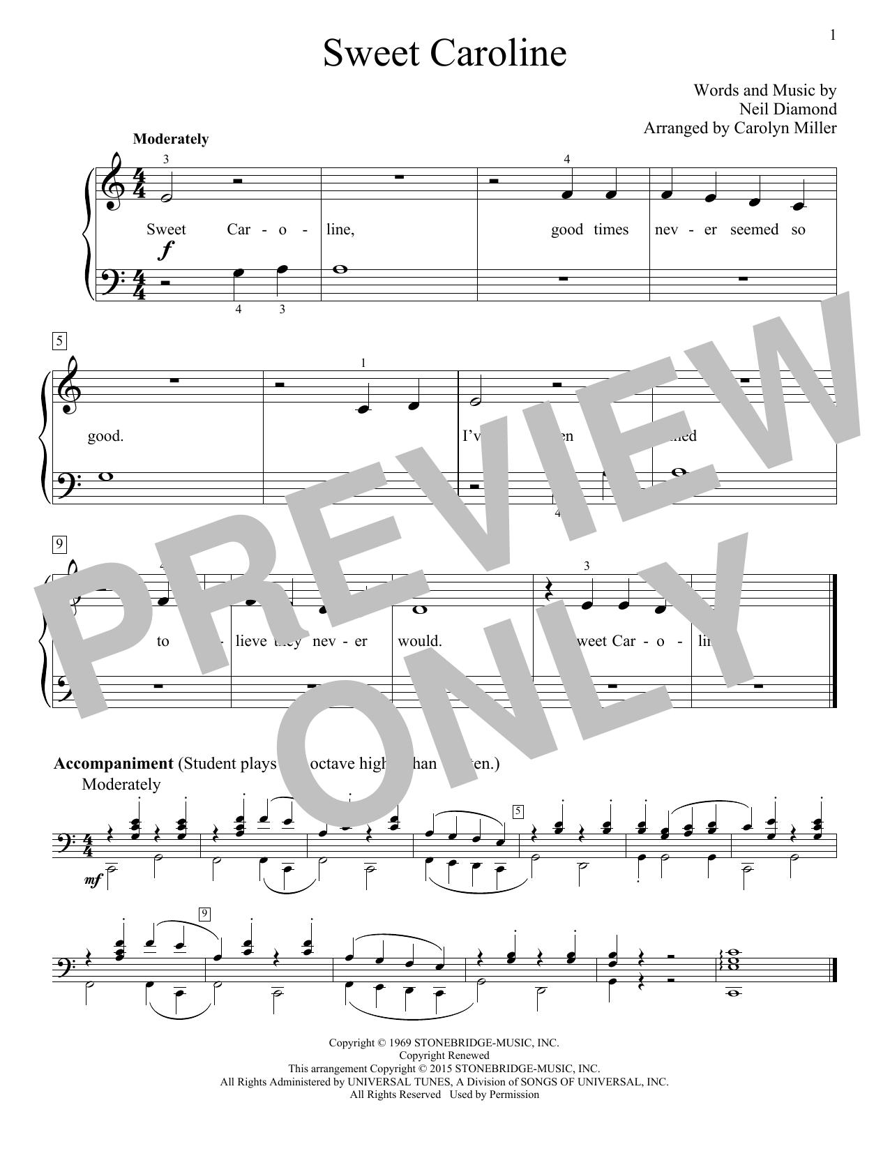 Partition piano Sweet Caroline de Neil Diamond - Autre