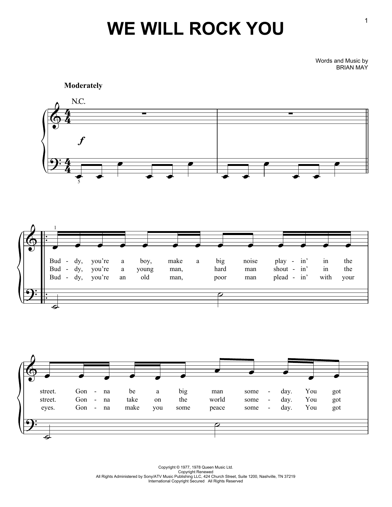 We Will Rock You Sheet Music