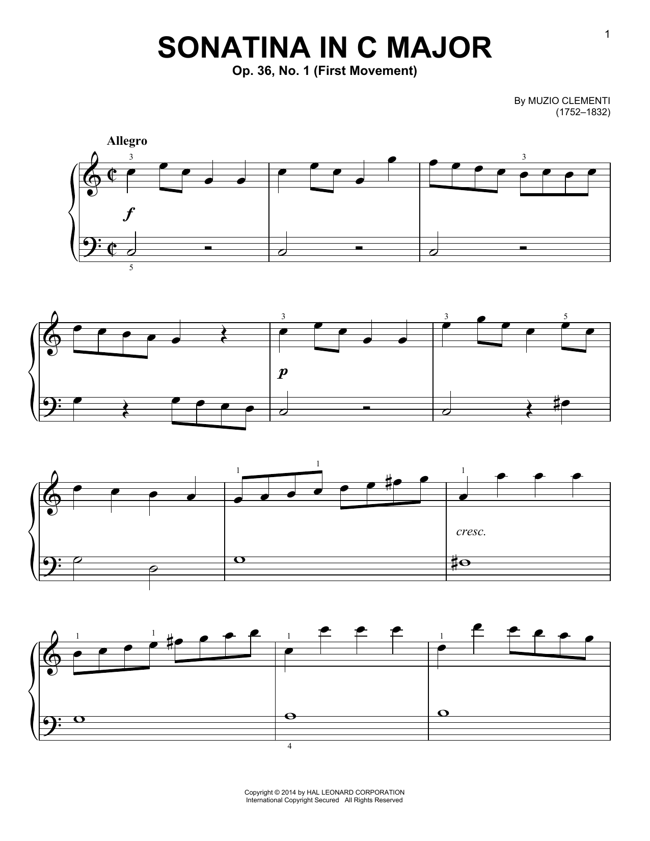 Sonatina in C Major, Op. 36, No. 1 Sheet Music