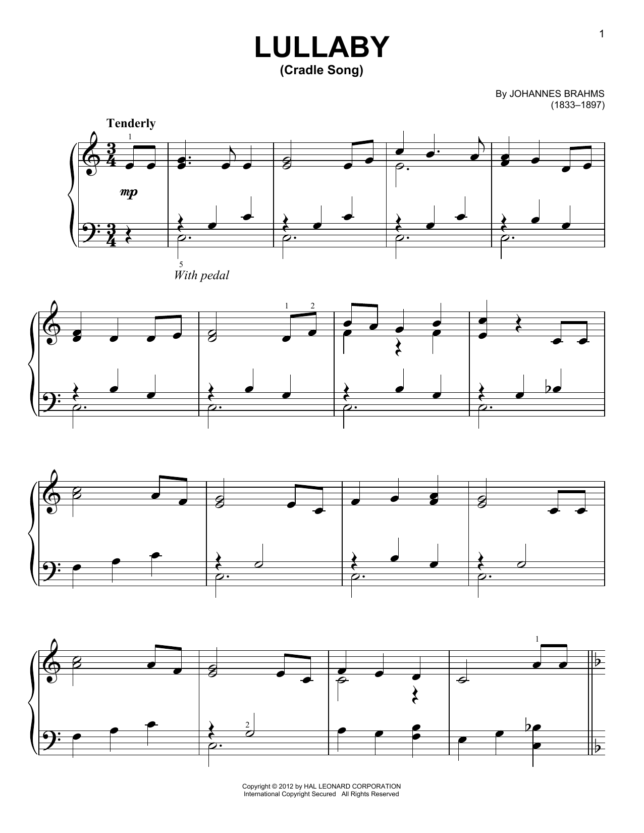 Lullaby (Cradle Song) Sheet Music