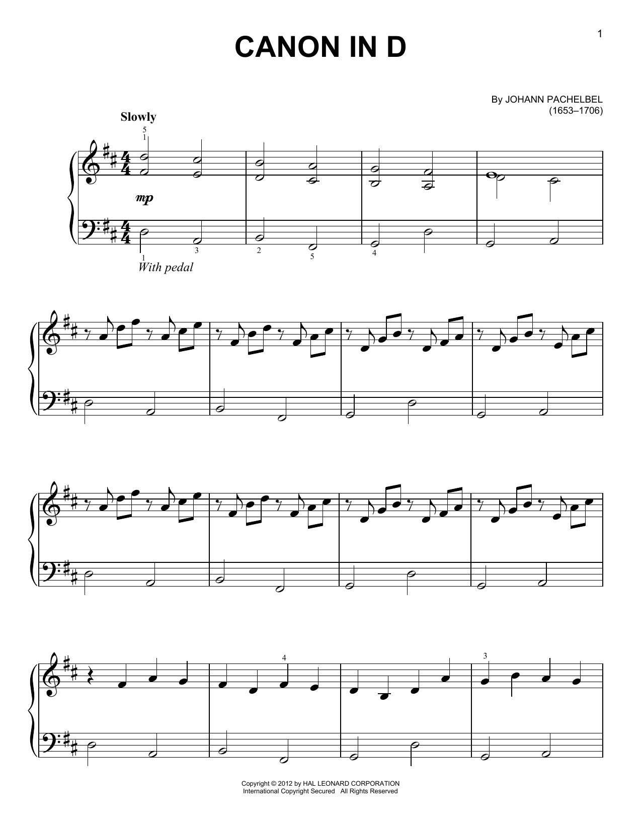 Partition piano Canon In D de Johann Pachelbel - Piano Facile