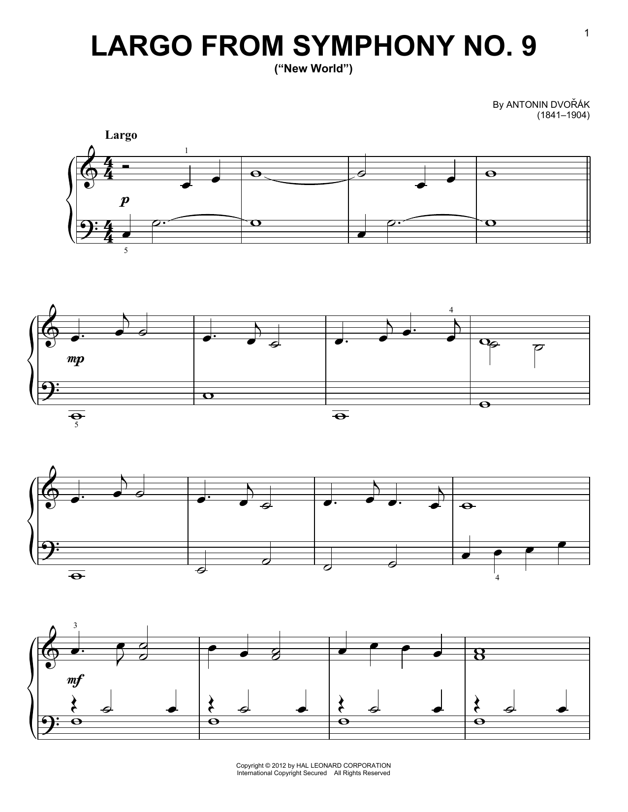 "Largo From Symphony No. 9 (""New World"") Sheet Music"