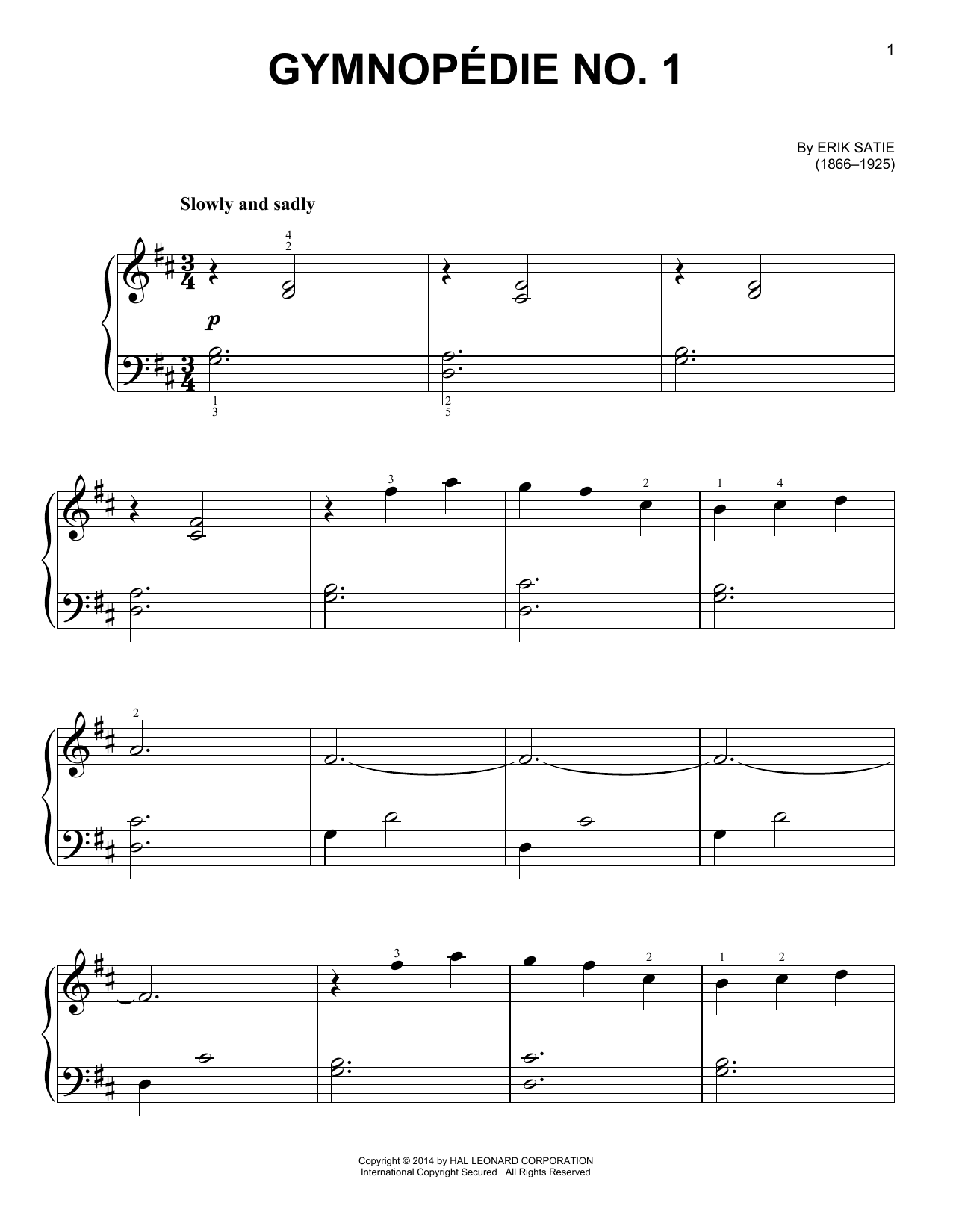 Partition piano Gymnopedie No. 1 de Erik Satie - Piano Facile