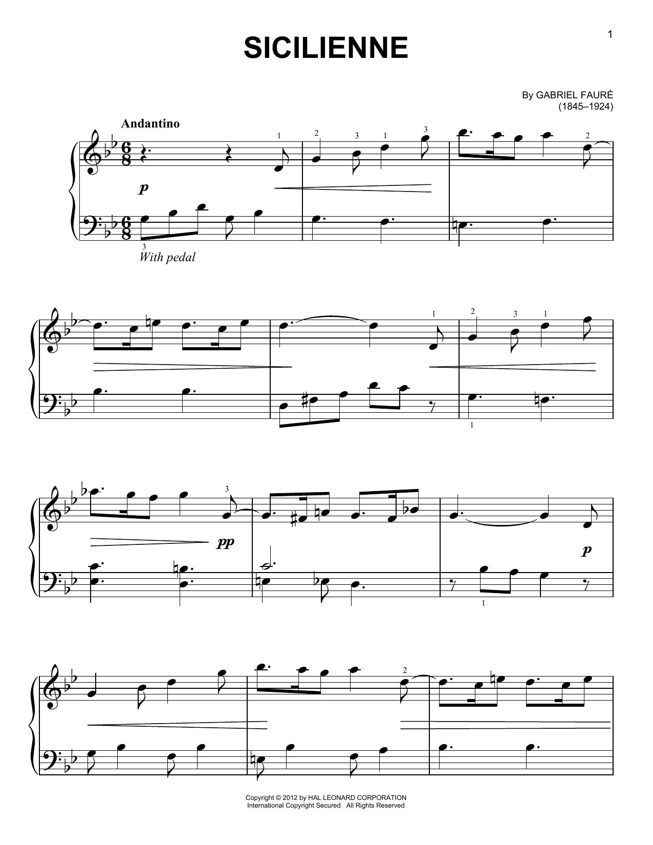 Partition piano Sicilienne de Gabriel Faure - Piano Facile