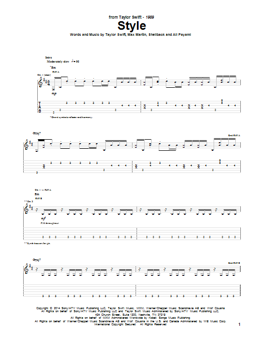 Tablature guitare Style de Taylor Swift - Tablature Guitare