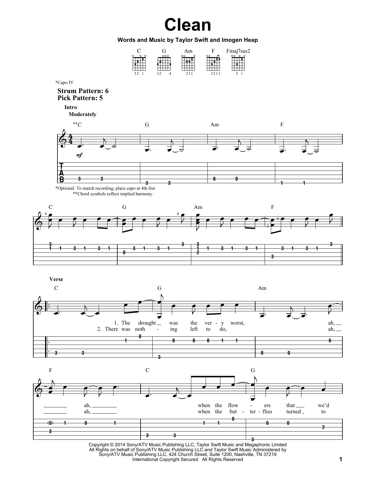 Clean By Taylor Swift Easy Guitar Tab Guitar Instructor