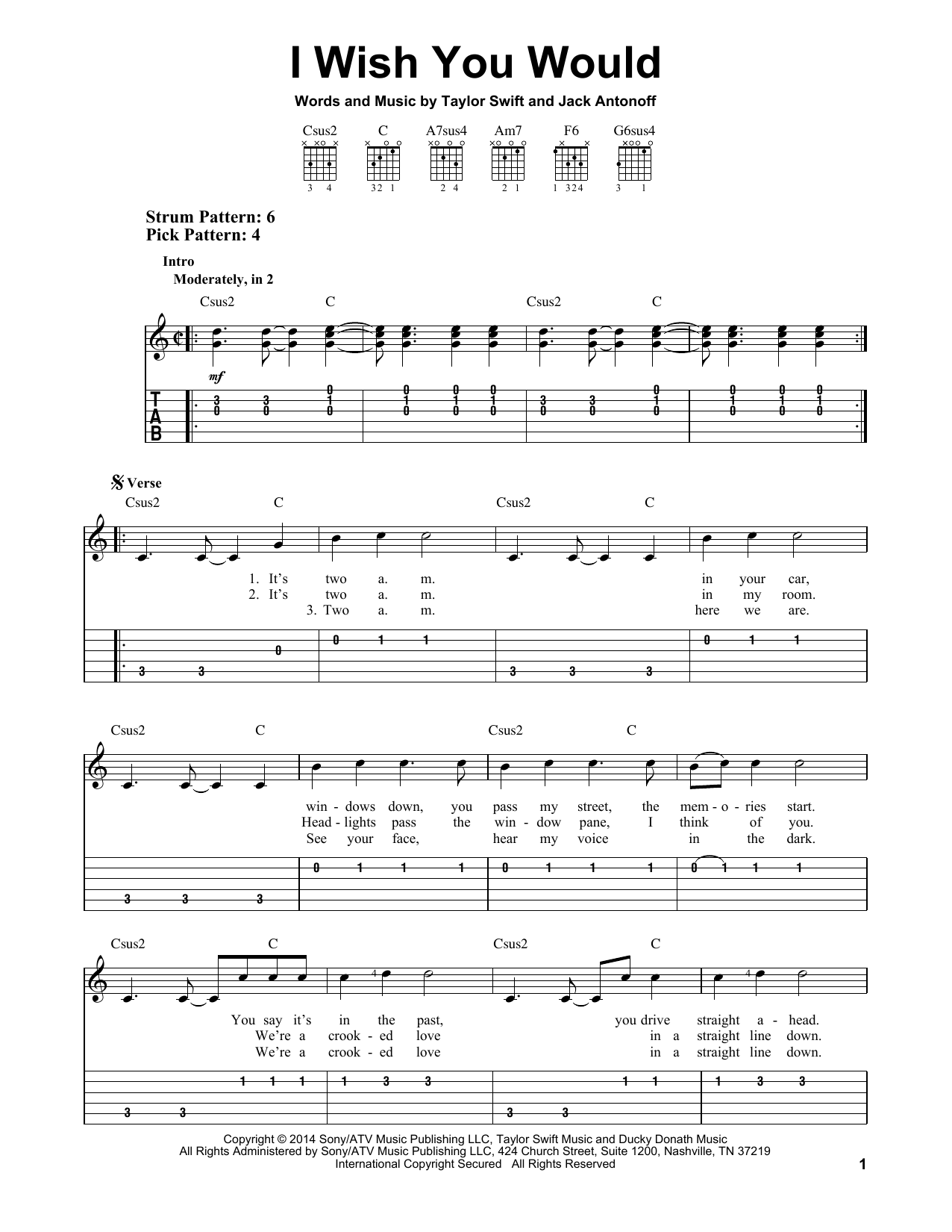 Tablature guitare I Wish You Would de Taylor Swift - Tablature guitare facile