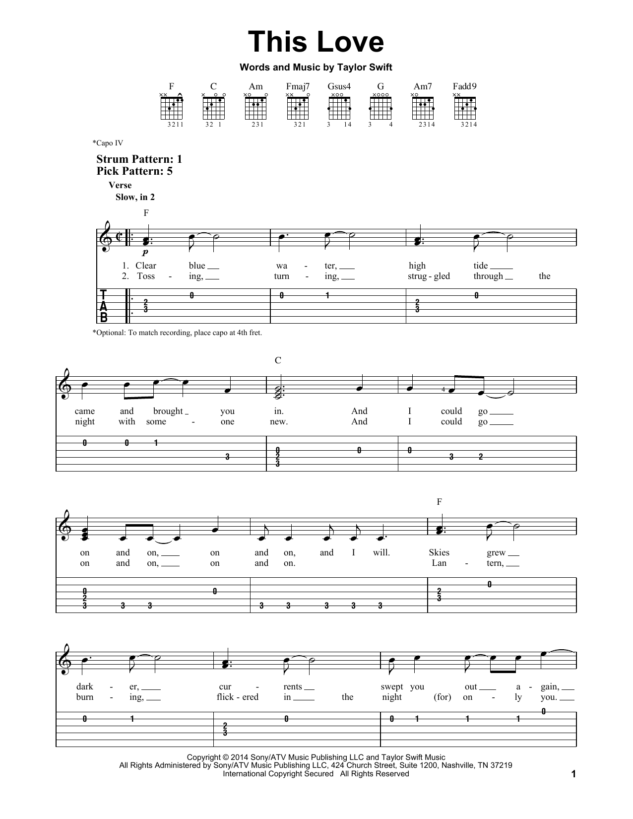 Tablature guitare This Love de Taylor Swift - Tablature guitare facile