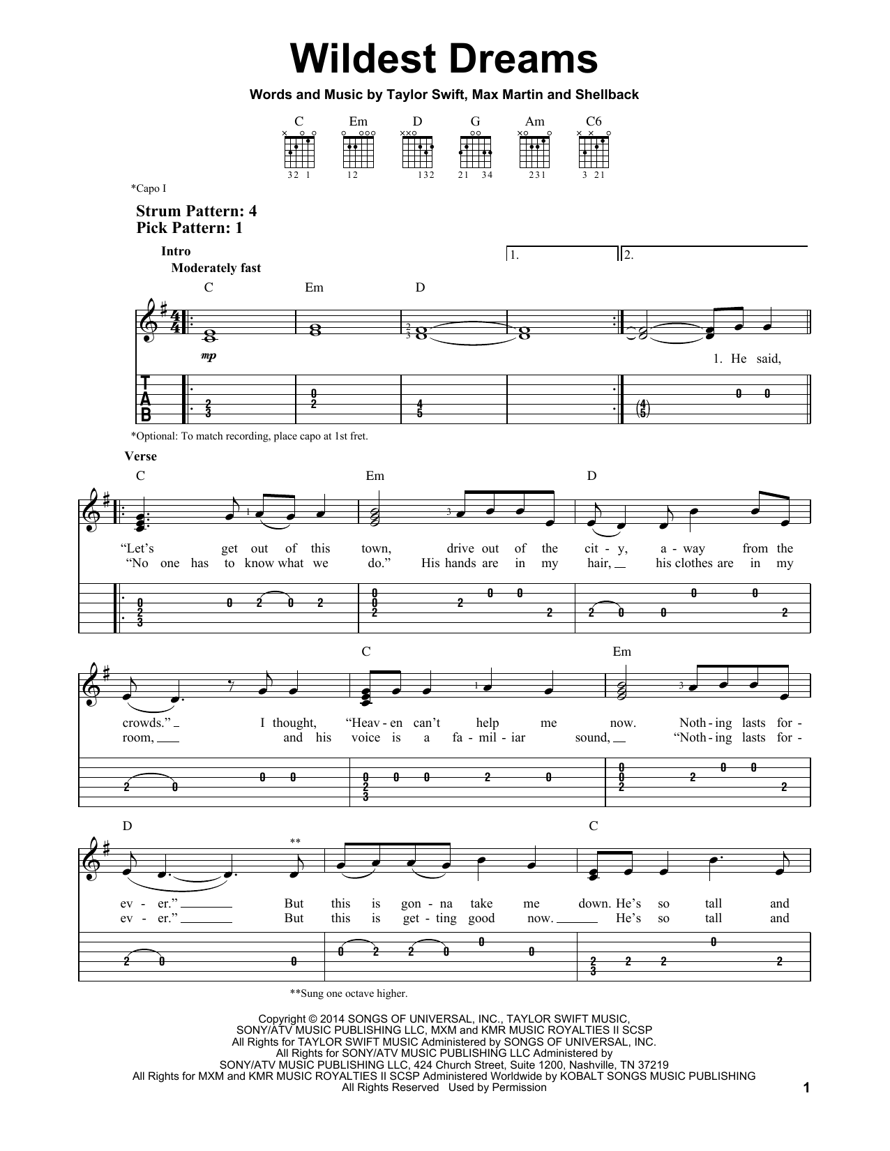 Guitar guitar tabs easy : Wildest Dreams sheet music by Taylor Swift (Easy Guitar Tab – 157078)