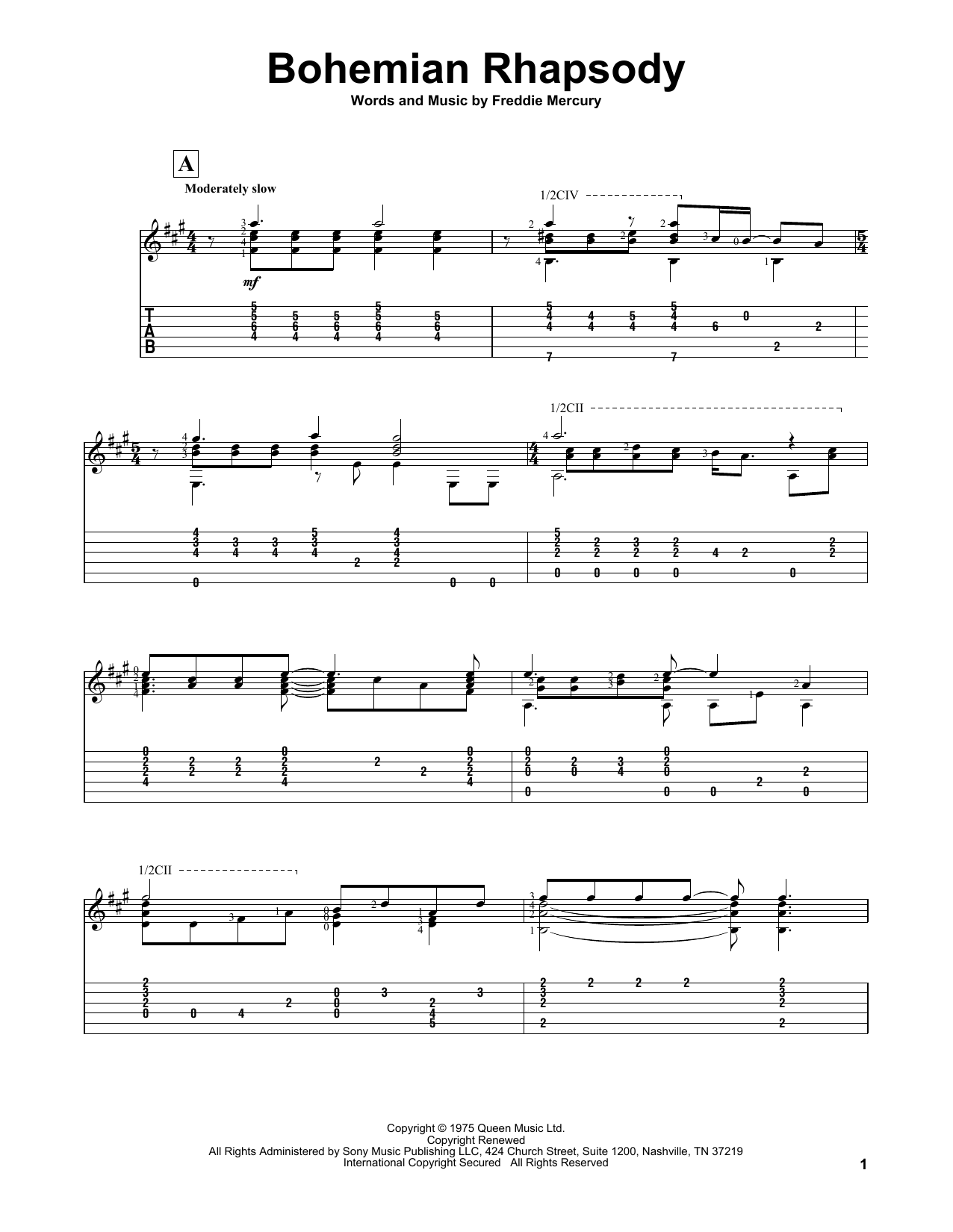 Learn bohemian rhapsody guitar music