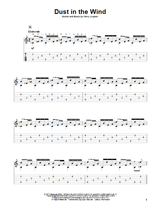 Tablature guitare Dust In The Wind de Kansas - Tablature Guitare