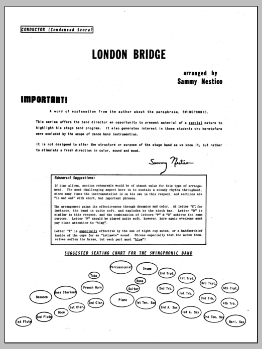 London Bridge (COMPLETE) sheet music for jazz band by Sammy Nestico. Score Image Preview.
