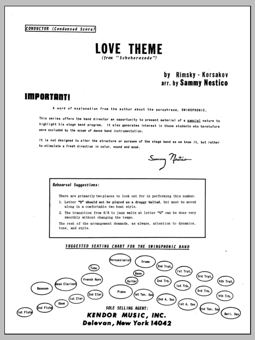 Love Theme From Scheherazade (COMPLETE) sheet music for jazz band by Sammy Nestico. Score Image Preview.
