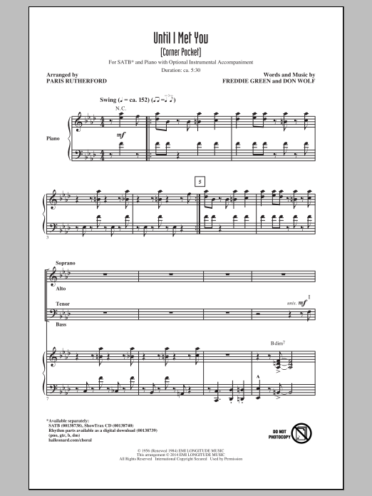Until I Met You (Corner Pocket) (arr. Paris Rutherford) Sheet Music