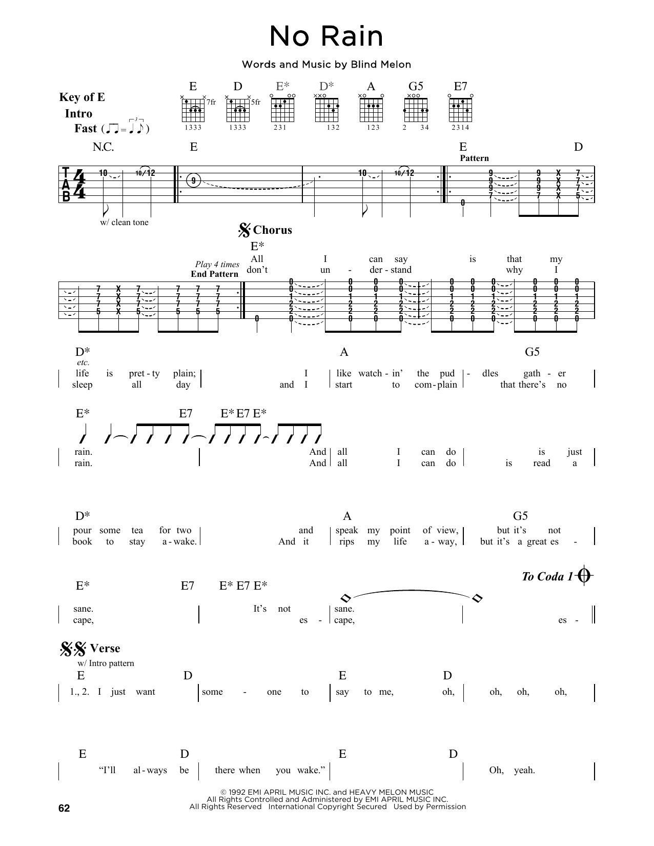 Partition autre No Rain de Blind Melon - Tablature Guitare Lead