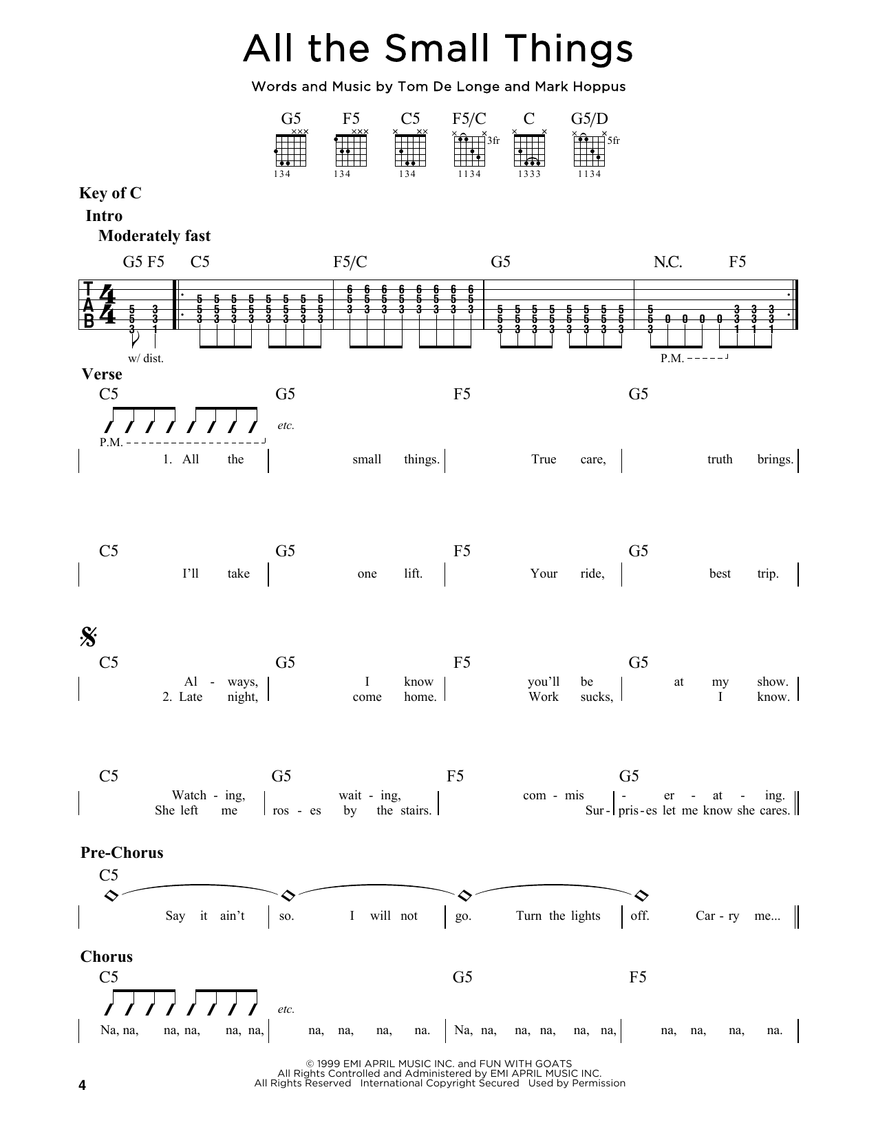 Partition autre All The Small Things de Blink 182 - Tablature Guitare Lead