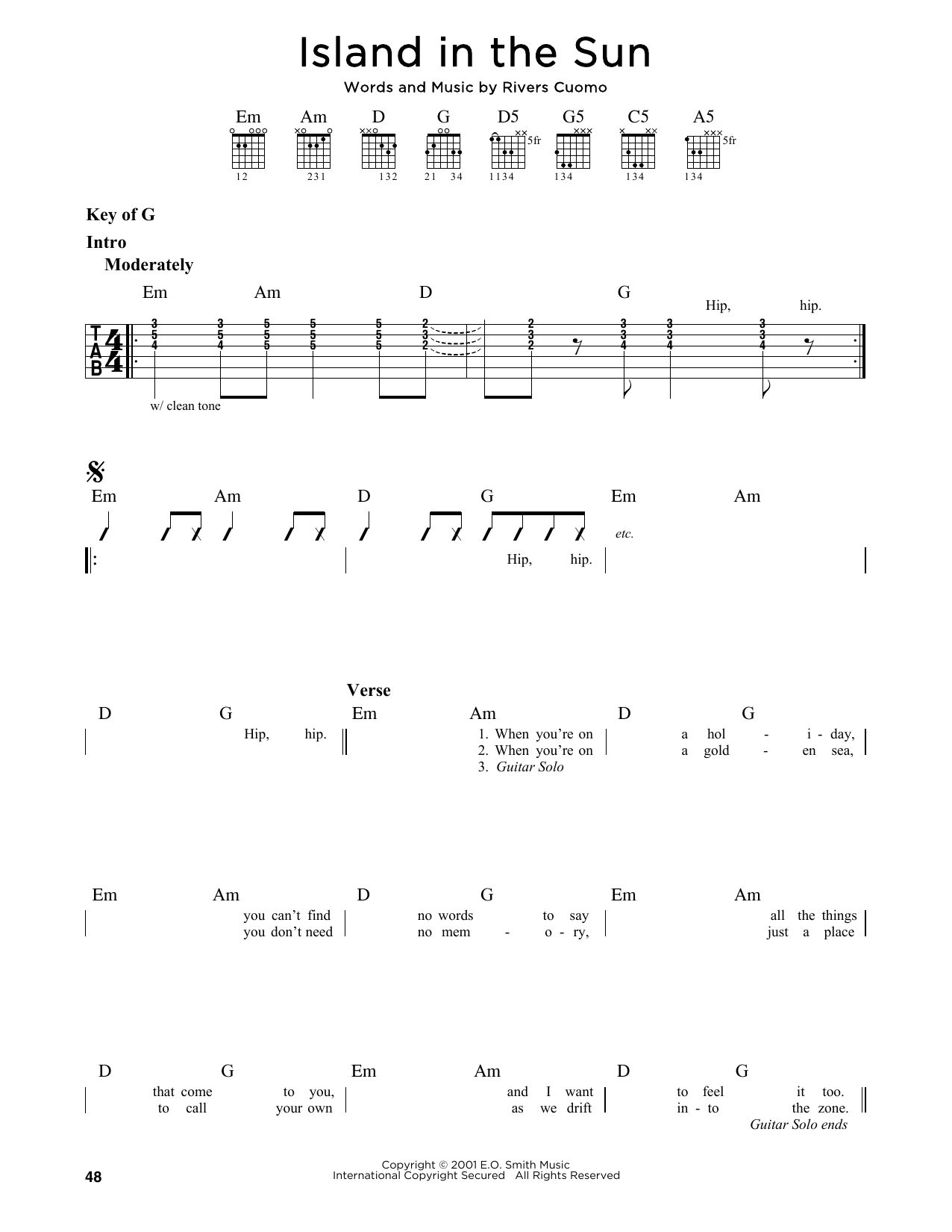 Partition autre Island In The Sun de Weezer - Tablature Guitare Lead