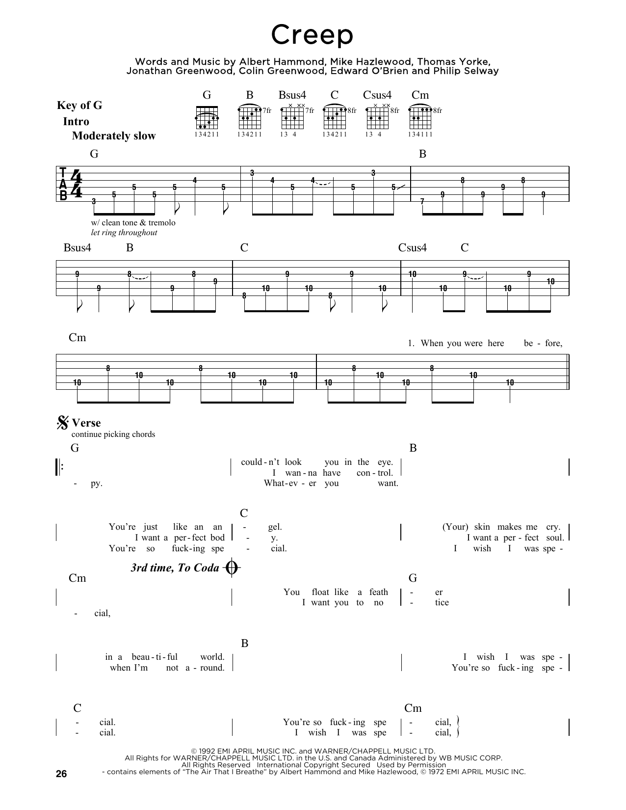 Creep Sheet Music Radiohead Guitar Lead Sheet