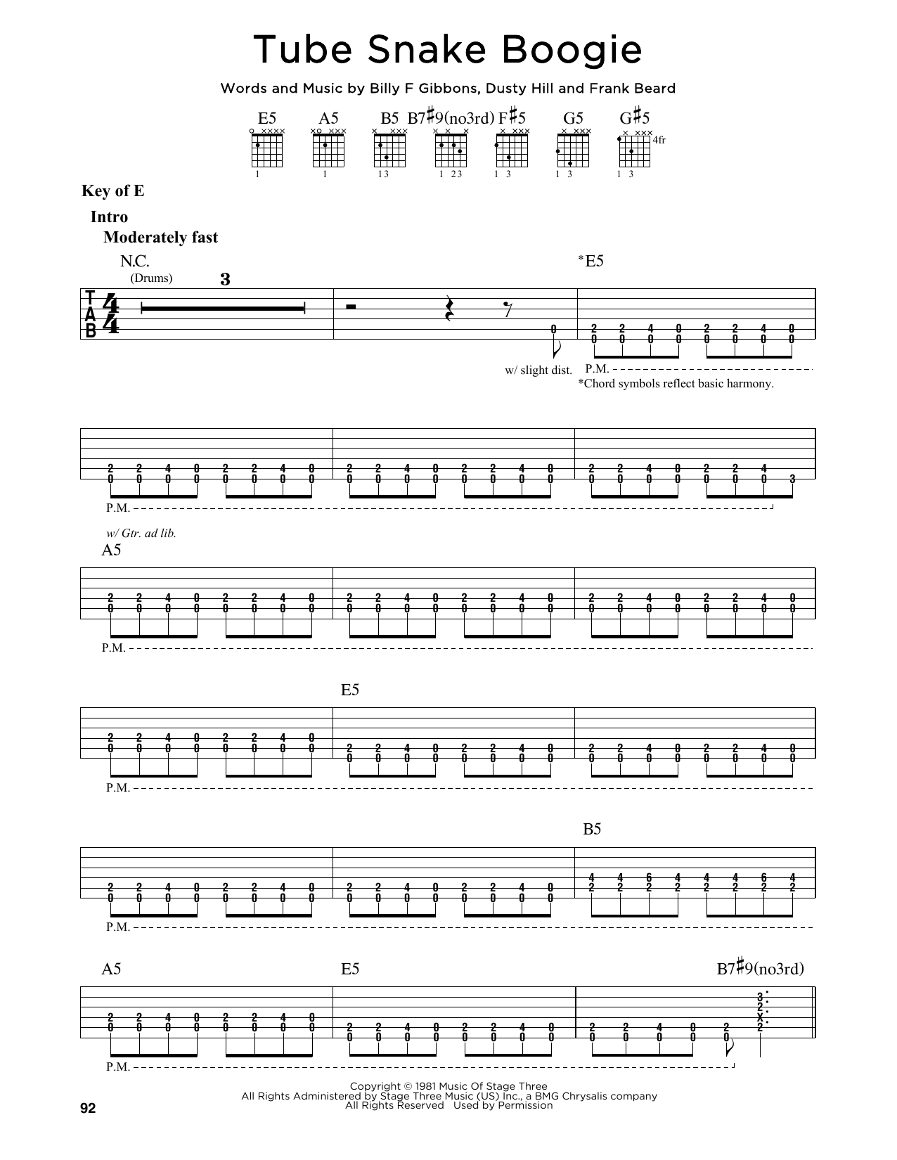 Partition autre Tube Snake Boogie de ZZ Top - Tablature Guitare Lead